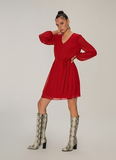 NGSTYLE V Yaka Şifon Elbise Kırmızı